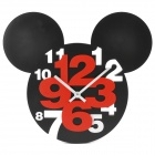Mickey Head Style Hohl-out Plastic Wanduhr - Schwarz (1 x AA)