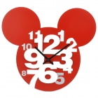 Mickey Head Style Hollow-Out Plastic Wall Clock - Red (1 x AA)