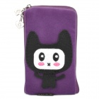 Cute Cartoon Style Zippered Carrying Bag Pouch w/ Hand Strap for Cell Phone - Purple