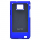Protective Aluminum Alloy Half Wire Drawing Back Case Cover for Samsung i9100 - Blue