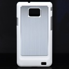 Protective Aluminum Alloy Half Wire Drawing Back Case Cover for Samsung i9100 - White