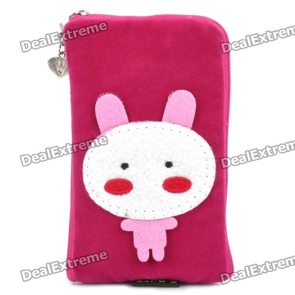 Cute Cartoon Zippered Mobile Phone Carrying Handbag Pouch - Deep Pink