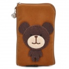 Cute Cartoon Mobile Phone Carrying Handbag Pouch - Light Coffee