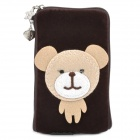 Cute Little Bear Style Zippered Carrying Bag Pouch w/ Hand Strap for Cell Phone - Deep Coffee