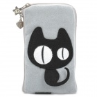 Cute Black Cat Style Zippered Carrying Bag Pouch w/ Hand Strap for Cell Phone - Grey