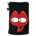 Cute Red Cat Style Zippered Carrying Bag Pouch w/ Hand Strap for Cell Phone - Black