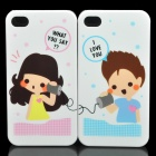 Sweet Lovers Calling Style Protective PC Case for Iphone 4 - White (Pair)