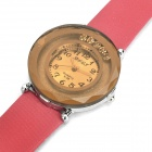 Stylish Double Circle Dial PU Leather Band Quartz Movement Wrist Watch - Brown + Red (1 x 377)
