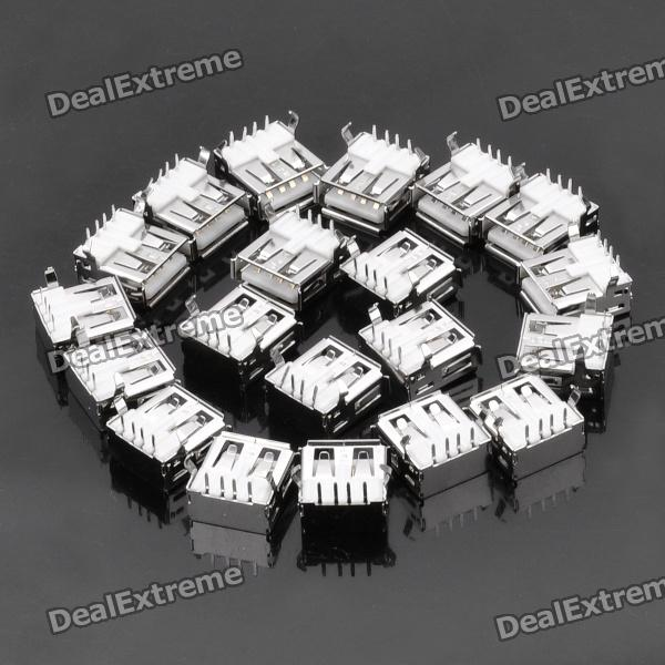 USB 2.0 AF A-Type Female 90 Degree Connector DIY Parts - Silver (20-Piece Pack) diy usb a 4 pin female connector socket silver 20 piece pack