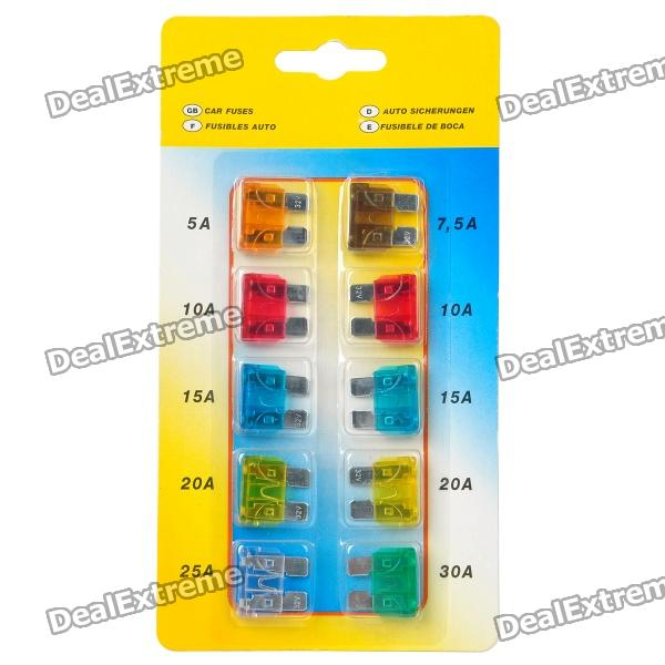 5A / 7.5A / 10A / 15A / 20A / 25A / 30A Universal Car Power Fuses (10-Piece Pack)