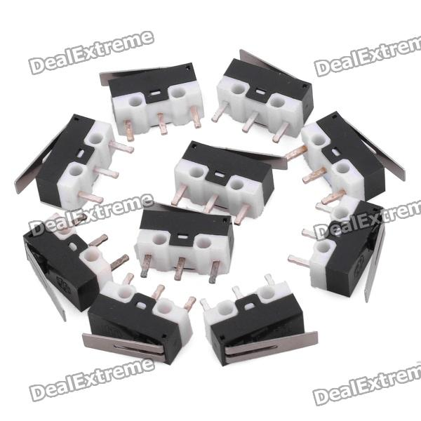 3-Pin Mini Micro Switch w/ Push Button - Black (10-Piece Pack) 5pcs kw7 9 long straight hinge lever type spdt micro switch limit switch new
