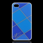 Cross Lines Protective ABS Back Case for iPhone 4 / 4s - Blue