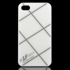 Cross Lines Protective ABS Back Case for iPhone 4 / 4s - White