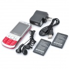 "C3+ GSM TV Bar Phone w/2.4"" LCD, Dual SIM, Quad Band and FM - Red"