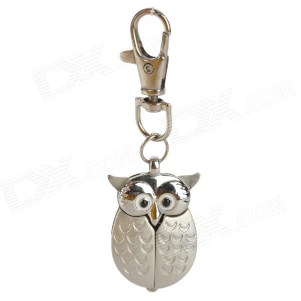 Silver Flip Open Owl Keychain Quartz Watch