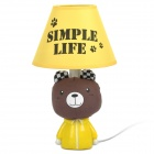 AC 220V Powered Bear Style E14 Connector Bulb Base Desk Lamp - Brown + Yellow