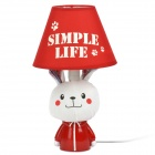 AC 220V Powered Rabbit Style E14 Connector Bulb Base Desk Lamp - Red + White