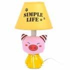 AC 220V Powered Pig Style E14 Connector Bulb Base Desk Lamp - Pink + Yellow