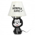 AC 220V Powered Mickey Mouse Style E14 Connector Bulb Base Desk Lamp - Black + White