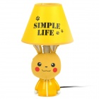 AC 220V Powered Pikachu Style E14 Connector Bulb Base Desk Lamp - Yellow