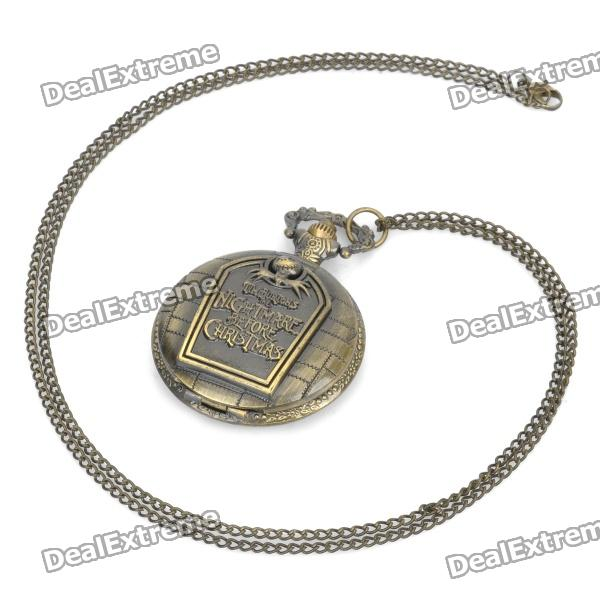 Vintage Retro Halloween Skull Pattern Quartz Pocket Watch - Bronze (1 x 377s/80cm) 4 design bronze vintage quartz pocket watch free mason sword art online gear necklace pendant chain womens mens gifts p1123