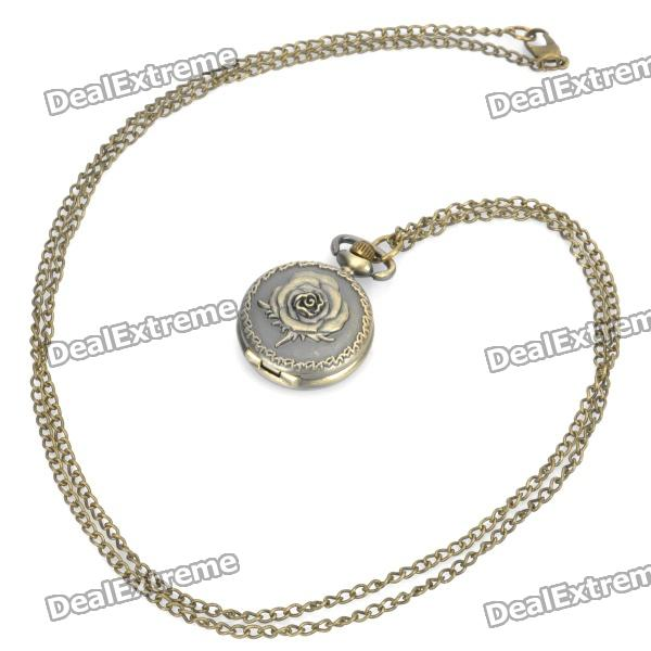 Vintage Retro Rose Pattern Quartz Pocket Watch - Bronze (1 x 377s/80cm) 4 design bronze vintage quartz pocket watch free mason sword art online gear necklace pendant chain womens mens gifts p1123