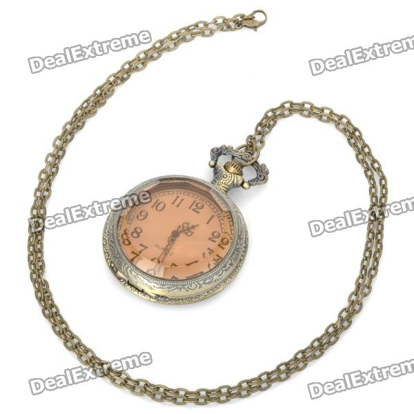 Vintage Retro Tawny Rhinestone Style Quartz Pocket Watch - Bronze (1 x 377s/80cm) 4 design bronze vintage quartz pocket watch free mason sword art online gear necklace pendant chain womens mens gifts p1123