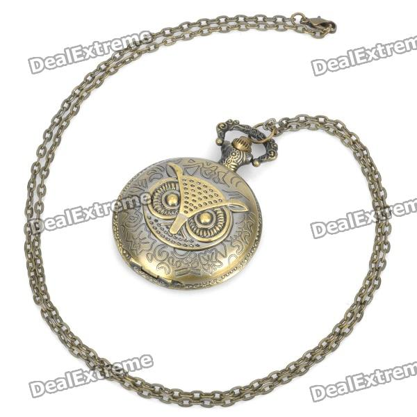 Vintage Retro Owl Style Quartz Pocket Watch - Bronze (1 x 377s/78cm) 4 design bronze vintage quartz pocket watch free mason sword art online gear necklace pendant chain womens mens gifts p1123