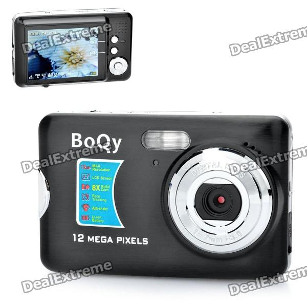 "12MP 8X Digital Zoom Portable Camera with SD Slot - Black + Silver (2.7"" TFT LCD)"