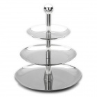 3 Tiers Stainless Steel Round Fruit Basket - Silver