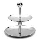 Dual Tiers Stainless Steel Round Fruit Basket - Silver