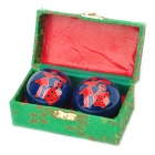 Chinese Character Fu Pattern Cloisonne Health Ball w/ Ringing Bell Inside - Blue (5cm / Pair)