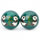 Panda + Bamboo Pattern Cloisonne Health Ball w/ Ringing Bell Inside - Green (5cm / Pair)