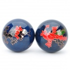 Dragon / Phoenix Pattern Cloisonne Health Ball w/ Ringing Bell Inside - Blue (5cm / Pair)