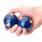 Chinese Yin/Yang Symbol Pattern Cloisonne Health Ball w/ Ringing Bell Inside - Blue (5cm / Pair)