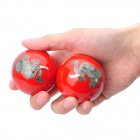 Elephant Pattern Cloisonne Health Ball w/ Ringing Bell Inside - Red (5cm / Pair)