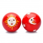 Durable Cloisonne Health Protect Exercise Fitness Balls - Red (Diameter-5CM / Pair)