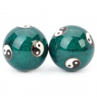 Chinese Yin/Yang Symbol Pattern Cloisonne Health Ball w/ Ringing Bell Inside - Green (5cm / Pair)