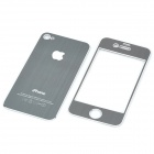 Decorative Protective Front + Back Cover Skin Sticker for Apple iPhone - Silver