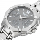 Men's Stylish Waterproof Stainless Steel Quartz Watch - Silver Grey (1 x 377)