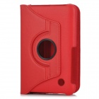 Protective PC Holder PU Leather Case for Samsung P6200 - Red