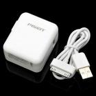 Pisen USB Power Adapter + USB Charging Cable for iPad / iPad 2  - White (US Plug/100~240V)
