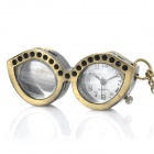 Antiquing Cartoon Glasses Style Pocket Watch with Chains - Bronze (1 x 377S)