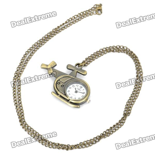 Antiquing Cartoon Helicopter Style Pocket Watch with Chains - Bronze (1 x 377S)