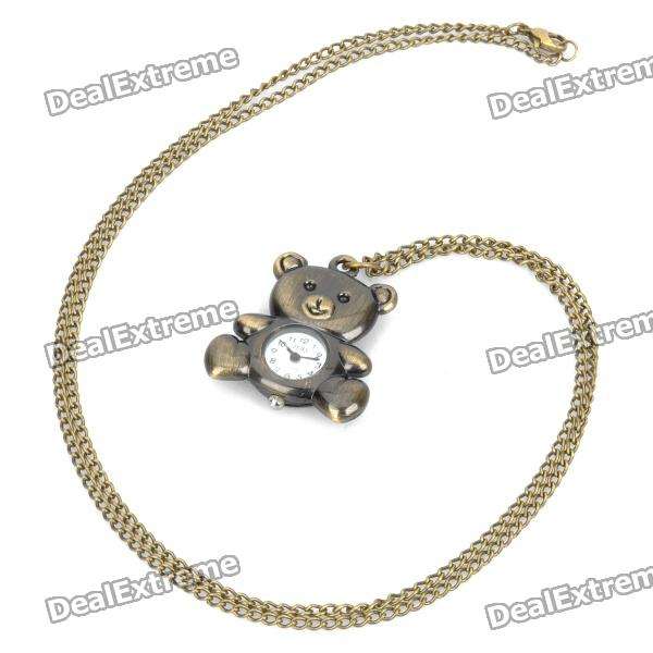 Antiquing Cartoon Bear Style Pocket Watch with Chain - Bronze (1 x 377S)