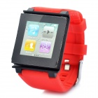 Wrist Watch Style Protective Silicone Case w/ Band for iPod Nano 6 - Red