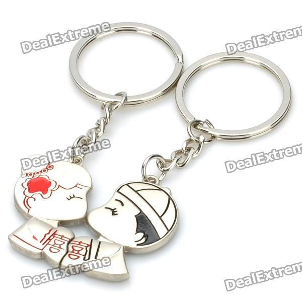 Sweet Lovers Figures Zinc Alloy Keychain - Silver (Pair)