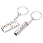 Lighter + Cigarette Shaped Couple's Keychain - Silver (Pair)