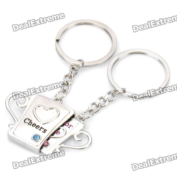 Fashion Lovers' Cup Shaped Couple's Keychain with Hearts - Silver (Pair) auto ashtray cup shaped shiny finish with hook