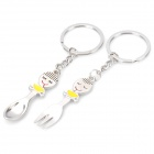 Spoon + Fork Shaped Keychain with Smile Expression - Silver (Pair)